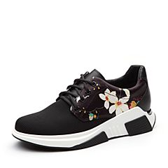 Teenmix/天美意2018春专柜同款黑/白色印花街头风系带鞋女休闲鞋CCW22AM8
