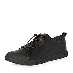 Teenmix/天美意2018春专柜同款黑色软面牛皮舒适平跟男休闲鞋BLH02AM8