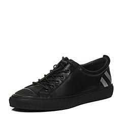 Teenmix/天美意2018春专柜同款黑色软面牛皮条纹平跟男休闲鞋BNT09AM8