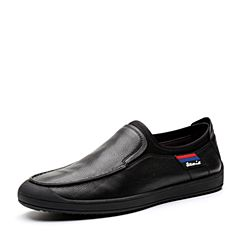 Teenmix/天美意2018春专柜同款黑色摔纹牛皮/纺织品男休闲鞋BIW26AM8