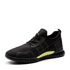 Teenmix/天美意2018春专柜同款黑色编织布/磨砂牛皮男休闲鞋BHQ61AM8