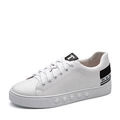 Teenmix/天美意2018春专柜同款白/黑色牛皮平跟系带鞋女休闲鞋CCU20AM8