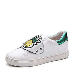 Teenmix/天美意2018春专柜同款白/绿色牛皮撞色系带鞋女休闲鞋6U558AM8