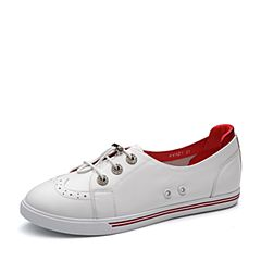 Teenmix/天美意2018春专柜同款白/红色牛皮镂花撞色平跟女休闲鞋6V521AM8