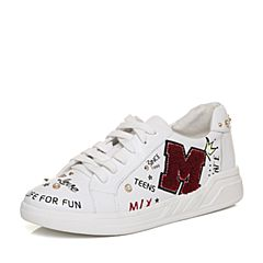 Teenmix/天美意2018春专柜同款白色牛皮珠饰系带鞋女休闲鞋CB220AM8