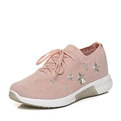 Teenmix/天美意2018春专柜同款粉色布星星平跟系带鞋女休闲鞋CB423AM8