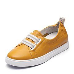 Teenmix/天美意2018春专柜同款黄色牛皮条纹松紧带女休闲鞋6W701AQ8