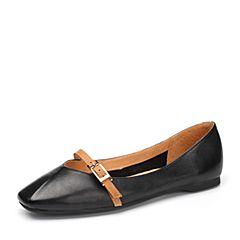 Teenmix/天美意2018春专柜同款黑/棕色牛皮平跟奶奶鞋浅口女单鞋AQ711AQ8