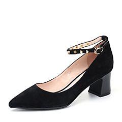 Teenmix/天美意2018春专柜同款黑色羊绒皮粗跟尖头鞋女单鞋AQ701AQ8