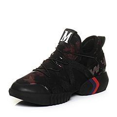 Teenmix/天美意2018春专柜同款黑/红色潮酷街头风平跟女休闲鞋AQ801AM8