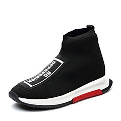 Teenmix/天美意2018春专柜同款黑色布字母运动风袜筒靴女短靴POLIMODA【狂奔】CCZ42AD8