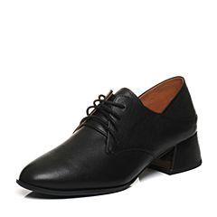 Teenmix/天美意2018春黑色牛皮通勤风优雅粗跟穆勒鞋女单鞋CB722AM8