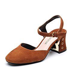 Teenmix/天美意2018春专柜同款棕色羊绒皮通勤风粗跟女凉鞋CDF34AH8