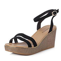 Teenmix/天美意2018夏专柜同款黑色羊绒皮革多条带通勤风坡跟女凉鞋CC404BL8