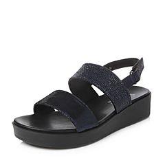 Teenmix/天美意2018夏专柜同款深兰/黑色裂面猪皮/纺织品厚底女凉鞋6Z909BL8
