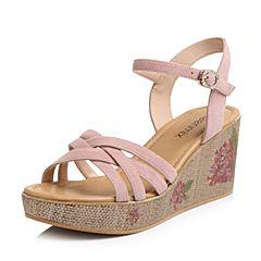 Teenmix/天美意2018夏专柜同款粉色羊绒皮革多条带印花坡跟女凉鞋CC403BL8