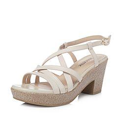 Teenmix/天美意夏專柜同款米色綿羊皮多條帶粗跟女涼鞋6YB13BL8