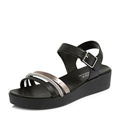 Teenmix/天美意2018夏专柜同款黑/灰银色钻饰多条带厚底女凉鞋6Z906BL8