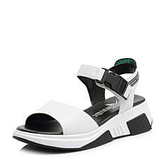 Teenmix/天美意2018夏专柜同款白/绿色移膜二层牛皮革/猪皮革时尚字母厚底休闲风女凉鞋CDP01BL8