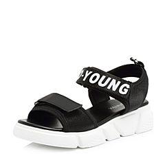 Teenmix/天美意2018夏专柜同款黑色时尚字母厚底休闲风女凉鞋AR281BL8