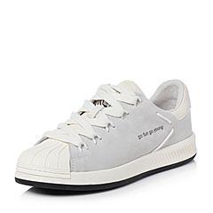 Teenmix/天美意2018春专柜同款米白色牛剖层皮撞色平跟女休闲鞋AR241AM8