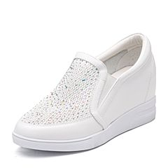Teenmix/天美意2018春专柜同款白色牛皮/织物乐福鞋女休闲鞋AR331AM8
