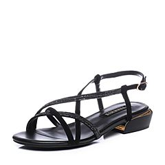 Teenmix/天美意2018夏黑色羊绒皮革/纺织品多条带方跟女凉鞋CDX06BL8
