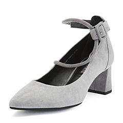 Teenmix/天美意2018秋专柜同款灰色羊绒皮革/纺织品通勤风粗跟女单鞋CFL01CQ8