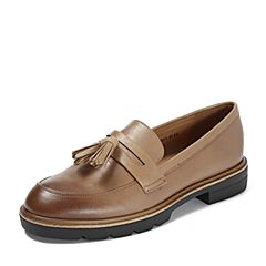 Teenmix/天美意2018秋专柜同款棕色牛皮革流苏方跟乐福鞋女单鞋6T301CQ8