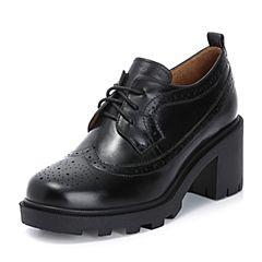 Teenmix/天美意2018秋专柜同款黑色打蜡牛皮革英伦风粗跟系带鞋女单鞋CFE21CM8