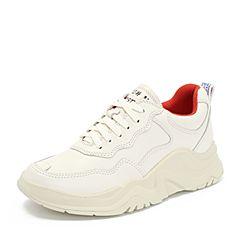 Teenmix/天美意2018秋专柜同款米白色牛皮革厚底运动风系带鞋女休闲鞋CET20CM8
