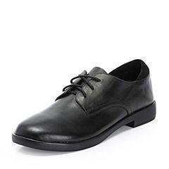 Teenmix/天美意2018秋专柜同款黑色牛皮革/羊皮革方跟系带鞋女单鞋CCJ21CM8
