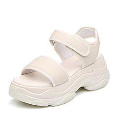 Teenmix/天美意2018夏米白色牛皮革/纺织品一字带厚底运动风女凉鞋1807ABL8