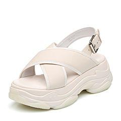 Teenmix/天美意2018夏米白色牛皮革交叉多条带厚底运动风女凉鞋18013BL8