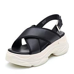 Teenmix/天美意2018夏黑色牛皮革交叉多条带厚底运动风女凉鞋18013BL8(领红包更优惠)