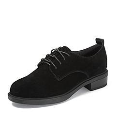 Teenmix/天美意2018秋专柜同款黑色牛剖层皮革方跟系带鞋女单鞋AR831CM8
