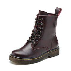 Teenmix/天美意2018冬酒红色擦色牛皮革舒适方跟马丁靴女短靴66608DD8