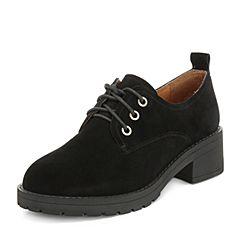 Teenmix/天美意2018秋黑色羊绒皮革舒?#21490;?#36319;系带鞋女单鞋17005CM8