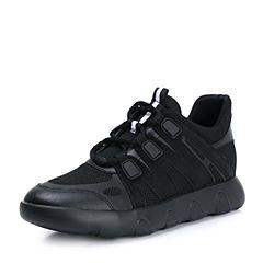 Teenmix/天美意2018秋黑色纺织品潮酷运动风平跟女休闲鞋TR015CM8