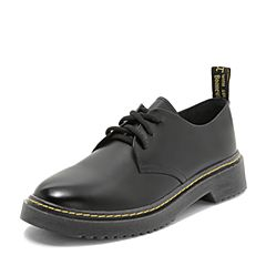 Teenmix/天美意2018秋黑色光面牛皮革方跟系带鞋女单鞋CGS21CM8