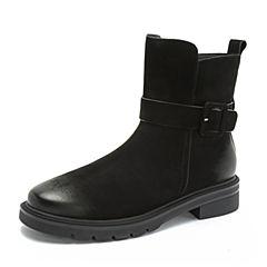 Teenmix/天美意2018冬黑色磨砂牛皮革皮带扣装饰方跟女短靴97605DD8
