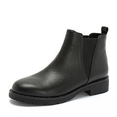 Teenmix/天美意2018冬黑色摔纹牛皮革铆钉方跟切尔西靴女短靴XH016DD8