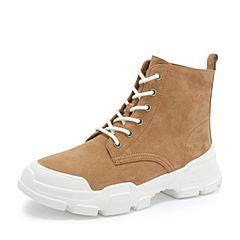 Teenmix/天美意2018冬棕色猪皮革街头休闲风平跟马丁靴女短靴18403DD8