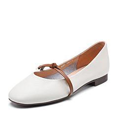 Teenmix/天美意2018秋专柜同款米白色牛皮革金属结饰方跟女单鞋AS261CQ8