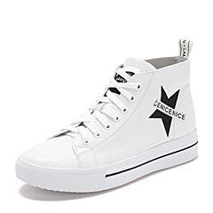 Teenmix/天美意2018冬专柜同款白/黑色字母平跟小白鞋女休闲靴CGN43DD8