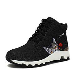 Teenmix/天美意2018冬商场同款银黑/黑色猫咪玫瑰贴布厚底女休闲靴6S348DD8