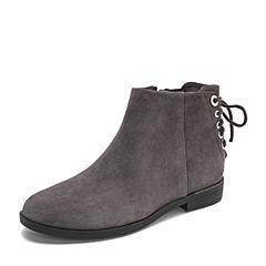 Teenmix/天美意2018冬专柜同款深灰色羊绒皮革/纺织品方跟女短靴CBQ53DD8