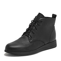Teenmix/天美意2018冬商场同款黑色牛皮革休闲风平跟女短靴CG640DD8