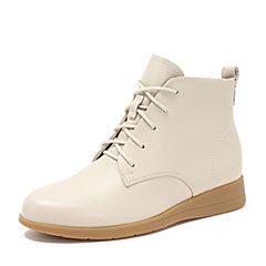 Teenmix/天美意2018冬商场同款米白色牛皮革休闲风平跟女短靴CG640DD8