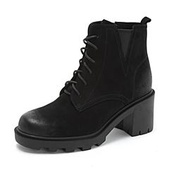 Teenmix/天美意2018冬专柜同款黑色磨砂牛皮革粗高跟马丁靴女短靴CFE40DD8